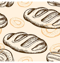 Seamless pattern with bagel and baguette vector image vector image