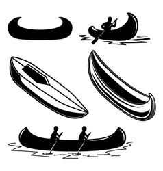set canoe icons design element for logo label vector image