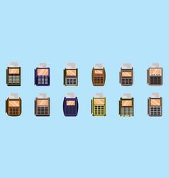 Set card reader cartoon icon design template vector