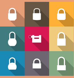 set icons of locks with long shadow vector image