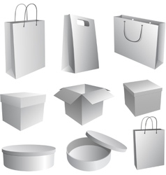 Set of paper bags and boxes for branding vector