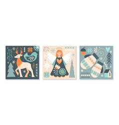 Set scandinavian christmas or winter scenes vector