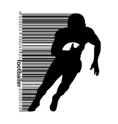 Silhouette of a football player and barcode rugby vector