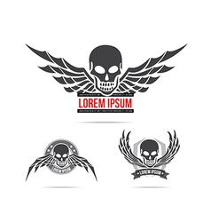 Skeleton skull with wing logo emblem element 001 vector image