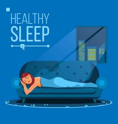 sleeping beautiful woman peacefully flat vector image
