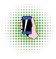Smartphone in hand icon comics style vector