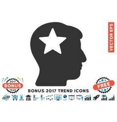 Star Head Flat Icon With 2017 Bonus Trend vector image