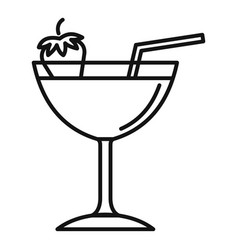 Strawberry cocktail icon outline style vector