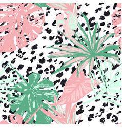 summer botanical seamless pattern tropical leaves vector image