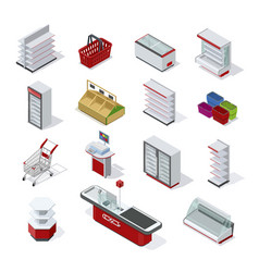 supermarket equipment isometric set vector image