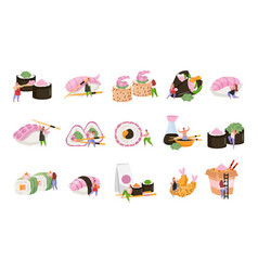 sushi flat recolor icon set vector image