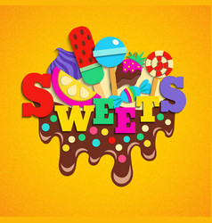 sweets fastfood trendy colorful composition vector image