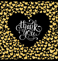 thank you card of glitter golden heart with hand vector image