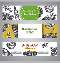 thanksgiving day banners collection hand drawn vector image
