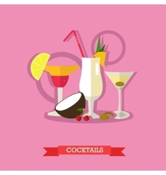 Three alcoholic cocktails with fruits flat design vector