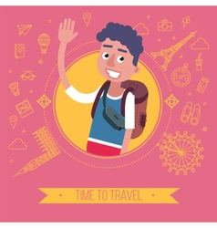 Time To Travel Card with Tourist vector