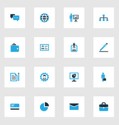 trade colorful icons set collection of portfolio vector image