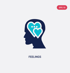 Two color feelings icon from brain process vector