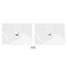 Two versions map united arab emirates vector
