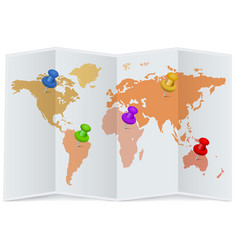 world map with multicolored pins vector image