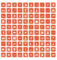 100 hacking icons set grunge orange vector image vector image