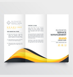abstract yellow and black wave trifold brochure vector image vector image
