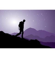 backpacker going down the mountain vector image