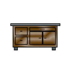 drawing desk furniture work office image vector image vector image