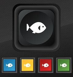 fish icon symbol Set of five colorful stylish vector image