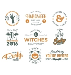 Halloween 2016 party labels templates with scary vector image