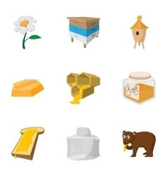 Honey production icons set cartoon style vector image