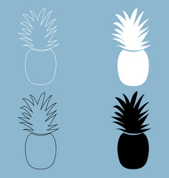 pineapple the black and white color icon vector image vector image