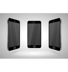 Three realistic glossy smartphones mockup with vector