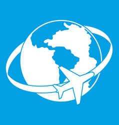 travelling around the world icon white vector image