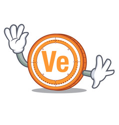 waving veritaseum coin character cartoon vector image