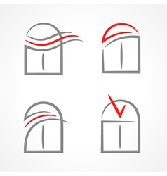 windows set emblem symbol element icons vector image vector image