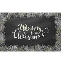 chalk christmas horizontal frame of branches with vector image
