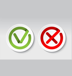 check mark and cross mark buttons vector image