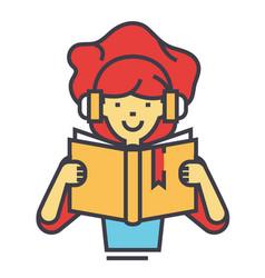 girl reading book in headphones concept line vector image