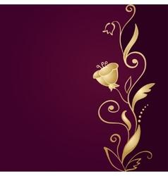 Golden floral ornament on green background vector image vector image