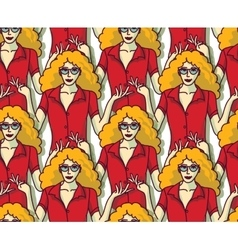 Blond pretty woman in red crowd color seamless vector image vector image