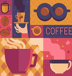 coffee poster template in flat retro style vector image vector image