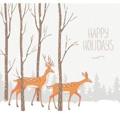 deer winter forest vector image
