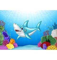 Stylized cartoon angry shark vector image