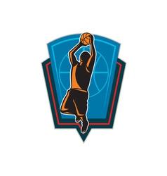 Basketball Player Rebounding Ball Shield Retro vector image vector image