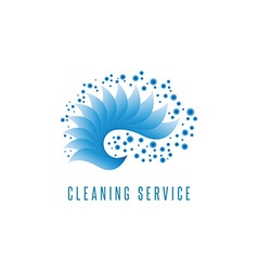 Cleaning service logo gradient sea wave water blue vector image vector image