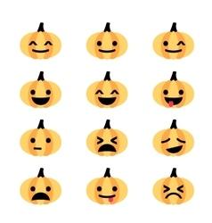 Emoji pumpkin icon set vector image vector image