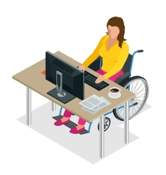 Handicapped woman in wheelchair in a office vector image