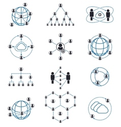 People connection and network icons vector image