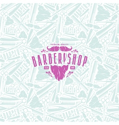 Seamless pattern and label for barber shop vector image vector image